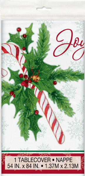 Candy Cane Christmas Plastic Tablecover